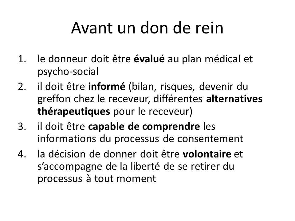Avant un don de rein le donneur doit être évalué au plan médical et psycho-social.