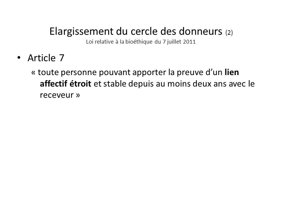 Elargissement du cercle des donneurs (2) Loi relative à la bioéthique du 7 juillet 2011