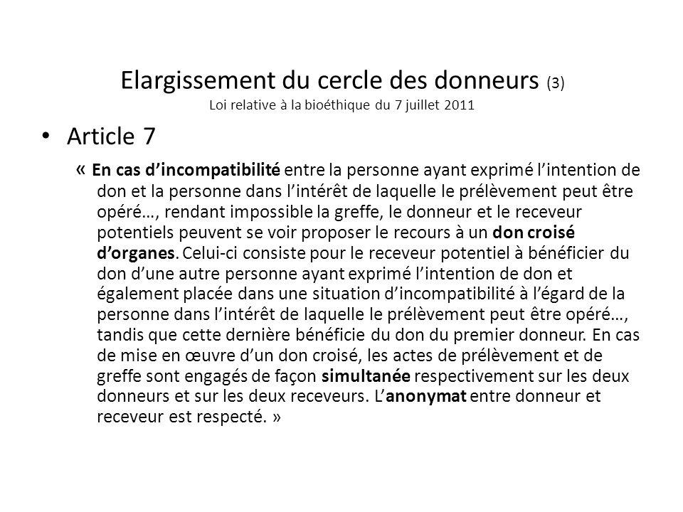 Elargissement du cercle des donneurs (3) Loi relative à la bioéthique du 7 juillet 2011