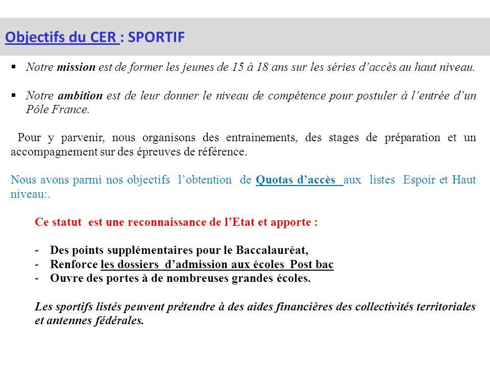Objectifs du CER : SPORTIF