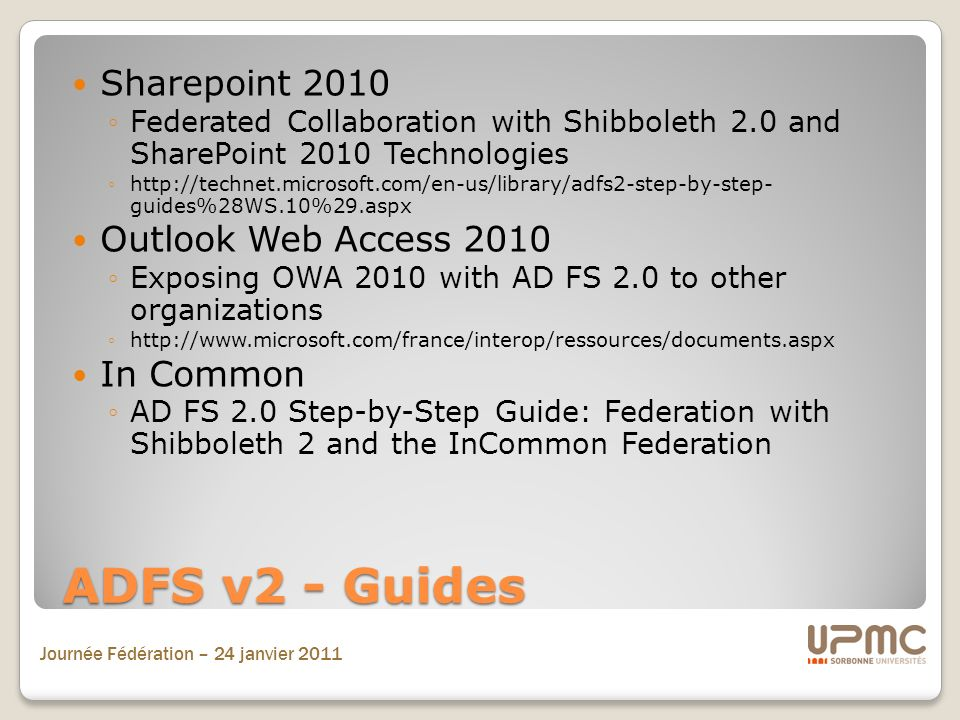 ADFS v2 - Guides Sharepoint 2010 Outlook Web Access 2010 In Common