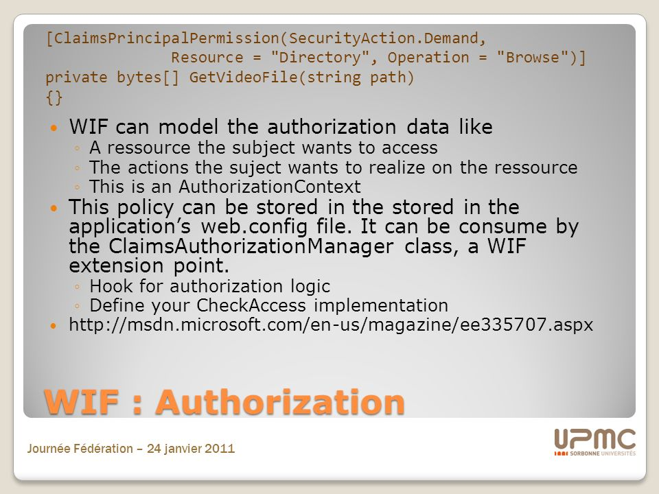 WIF : Authorization WIF can model the authorization data like