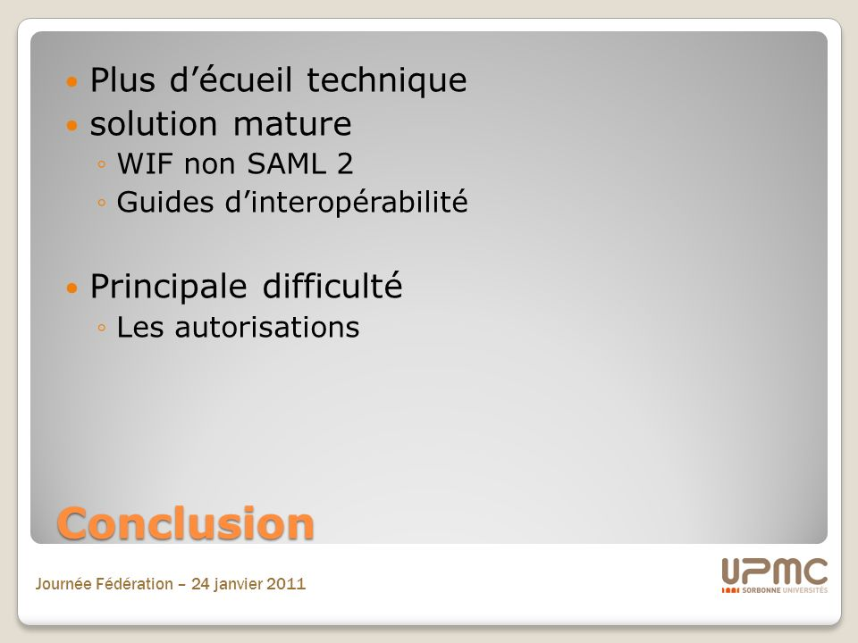 Conclusion Plus d'écueil technique solution mature