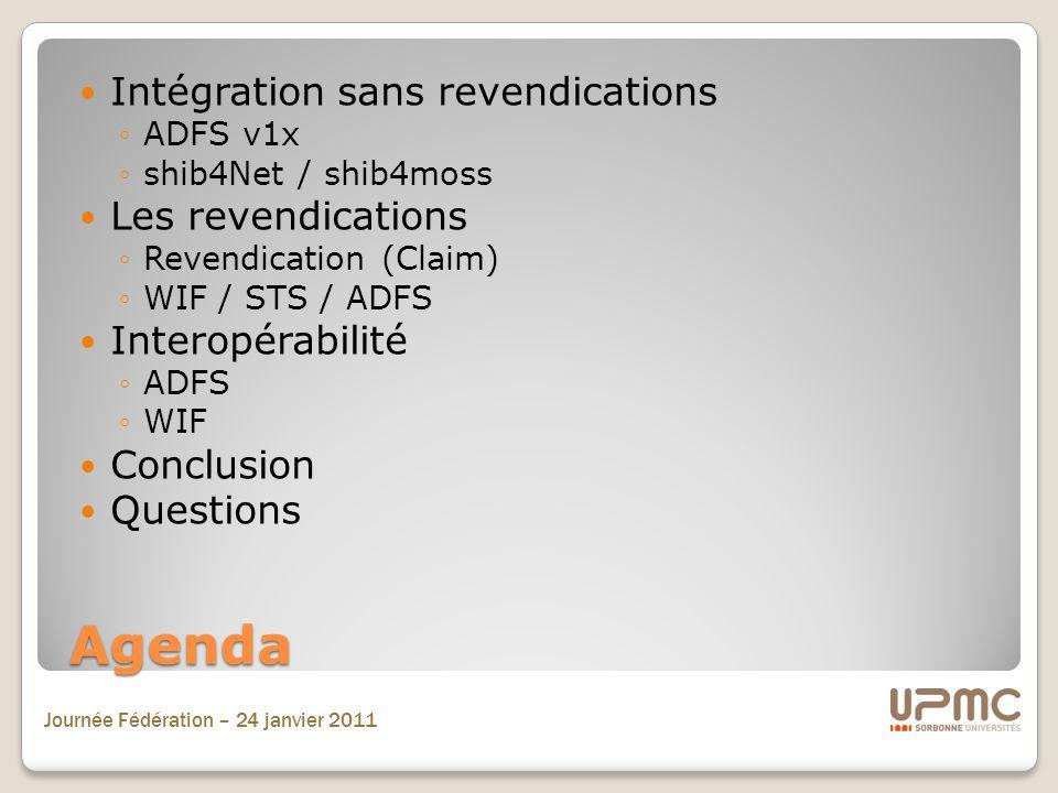 Agenda Intégration sans revendications Les revendications