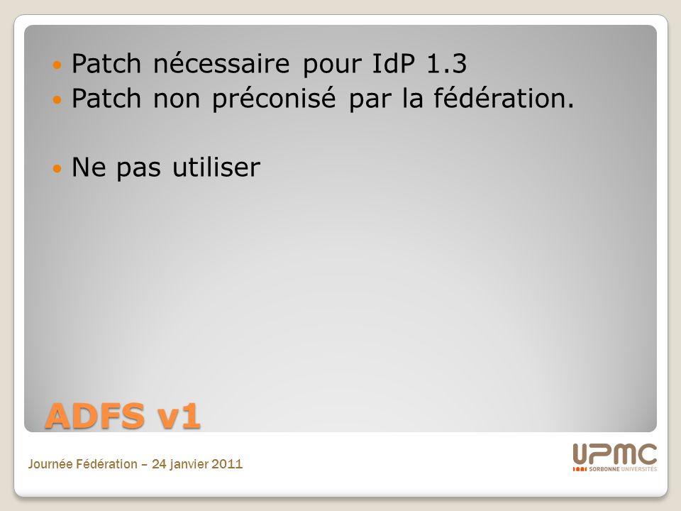 ADFS v1 Patch nécessaire pour IdP 1.3