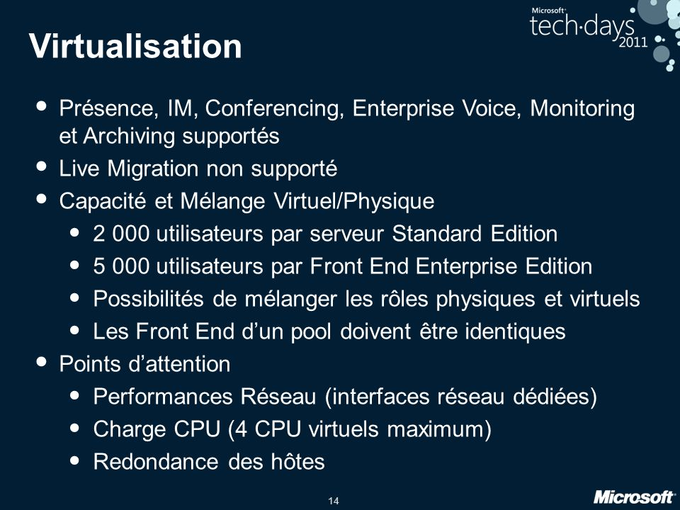 Virtualisation Présence, IM, Conferencing, Enterprise Voice, Monitoring et Archiving supportés. Live Migration non supporté.