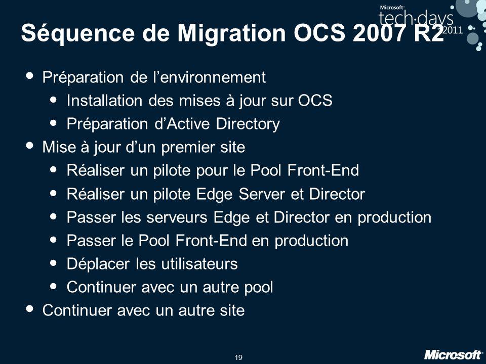 Séquence de Migration OCS 2007 R2