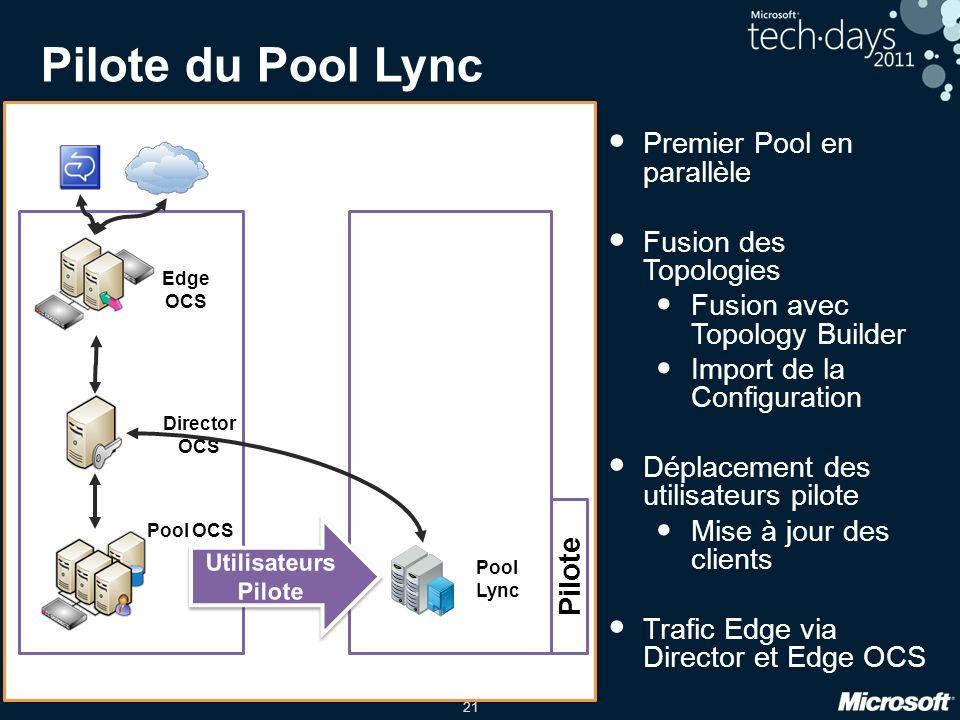 Pilote du Pool Lync Premier Pool en parallèle Fusion des Topologies