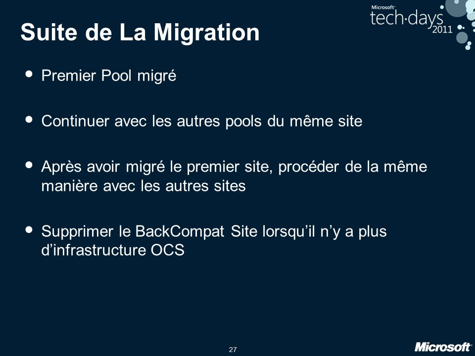 Suite de La Migration Premier Pool migré