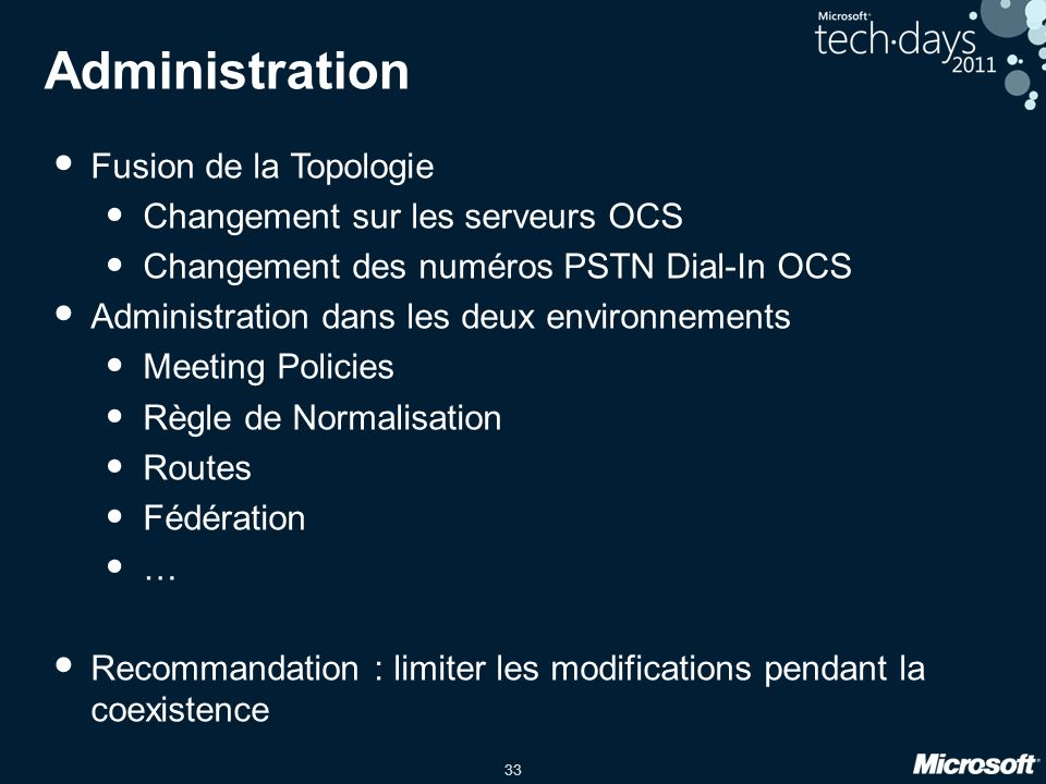 Administration Fusion de la Topologie Changement sur les serveurs OCS