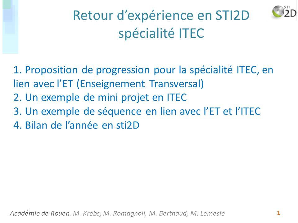 Retour d'expérience en STI2D spécialité ITEC
