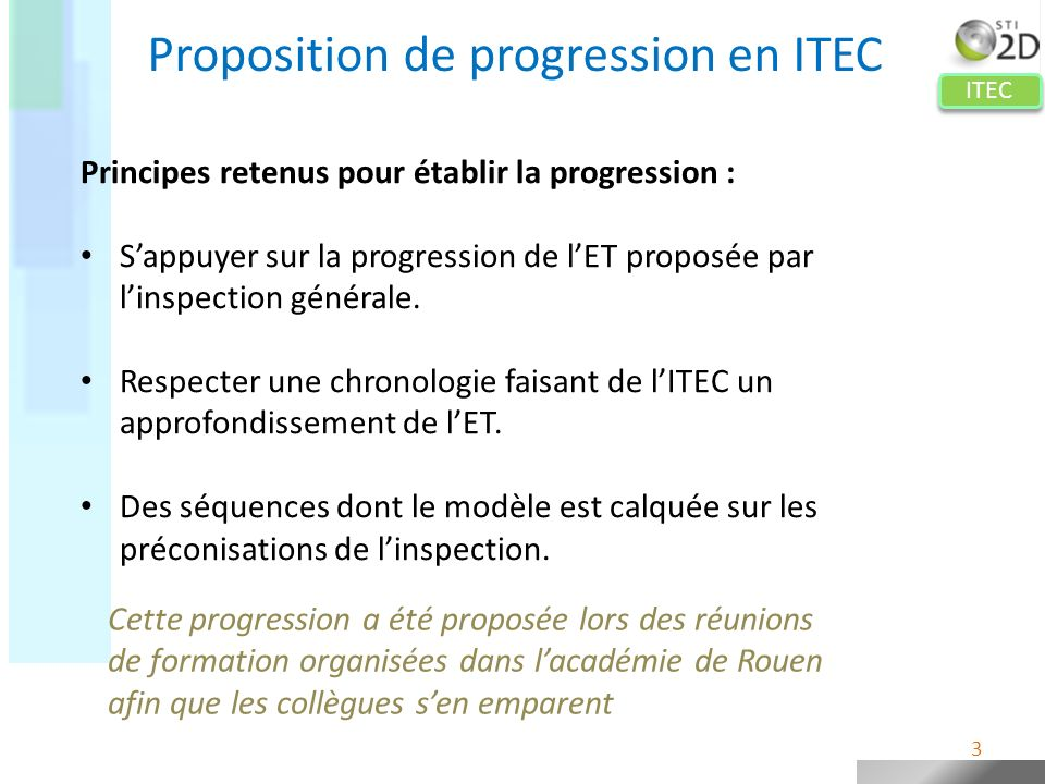 Proposition de progression en ITEC