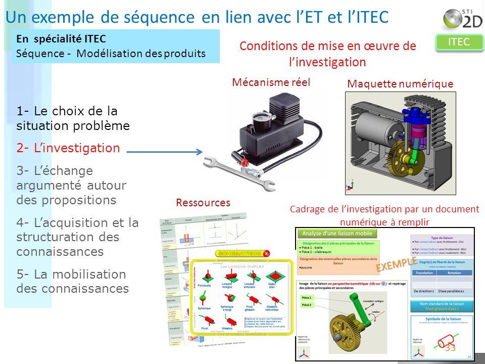 Un exemple de séquence en lien avec l'ET et l'ITEC