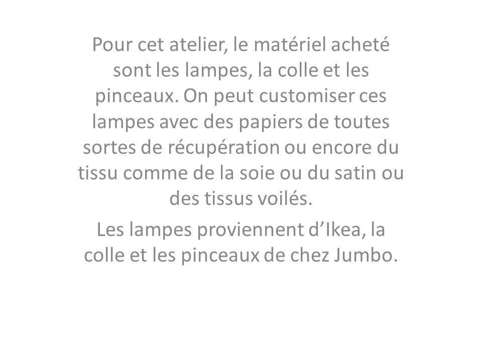 Les lampes proviennent d'Ikea, la colle et les pinceaux de chez Jumbo.