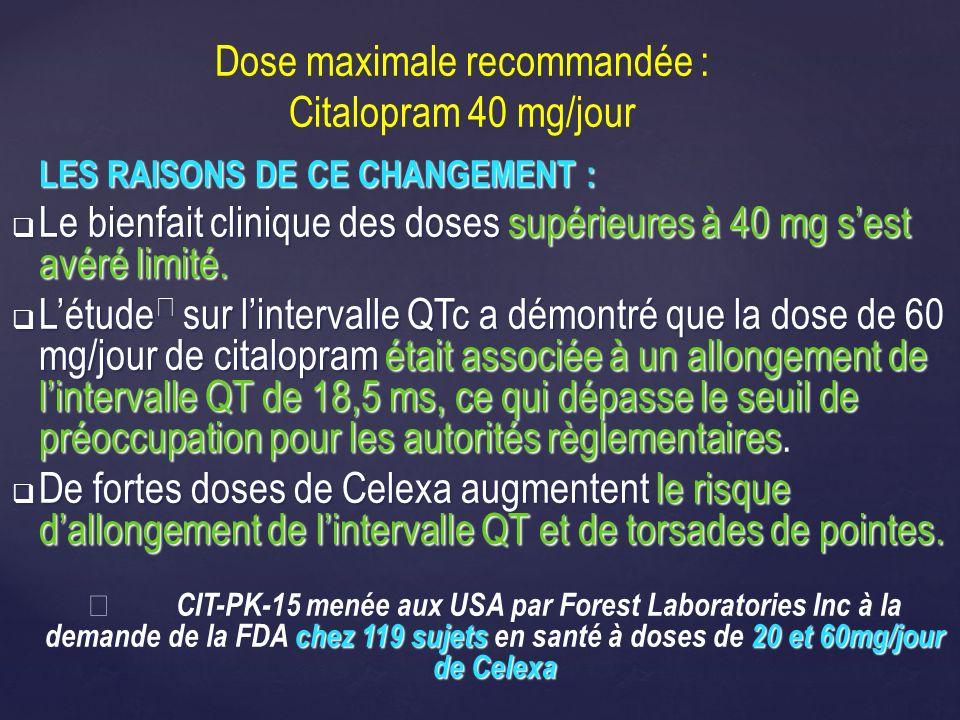 Dose maximale recommandée : Citalopram 40 mg/jour