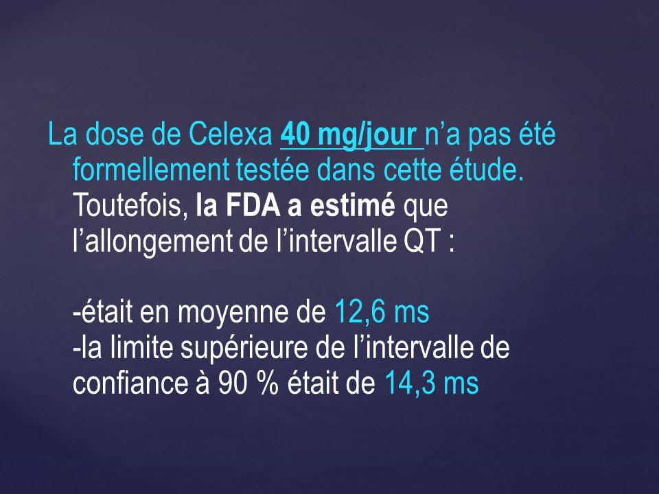 La dose de Celexa 40 mg/jour n'a pas été formellement testée dans cette étude.