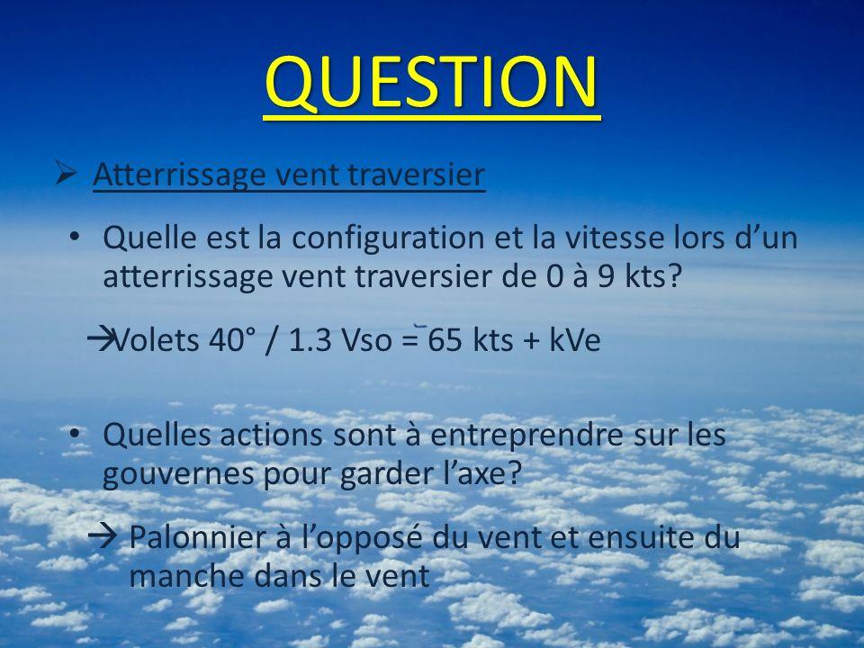 QUESTION Atterrissage vent traversier