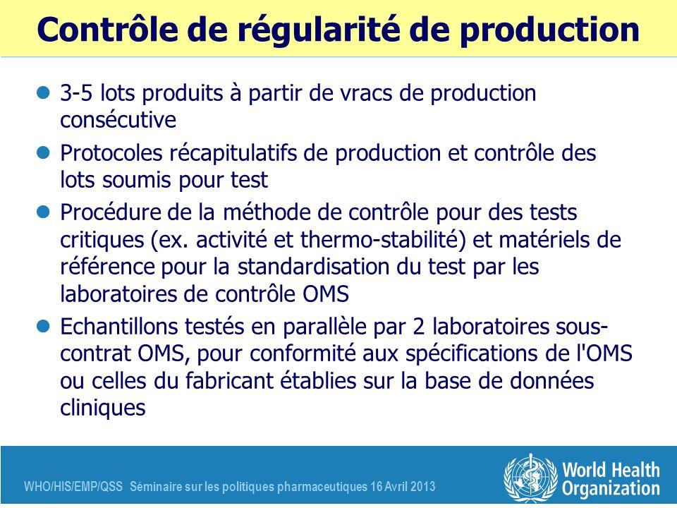 Contrôle de régularité de production