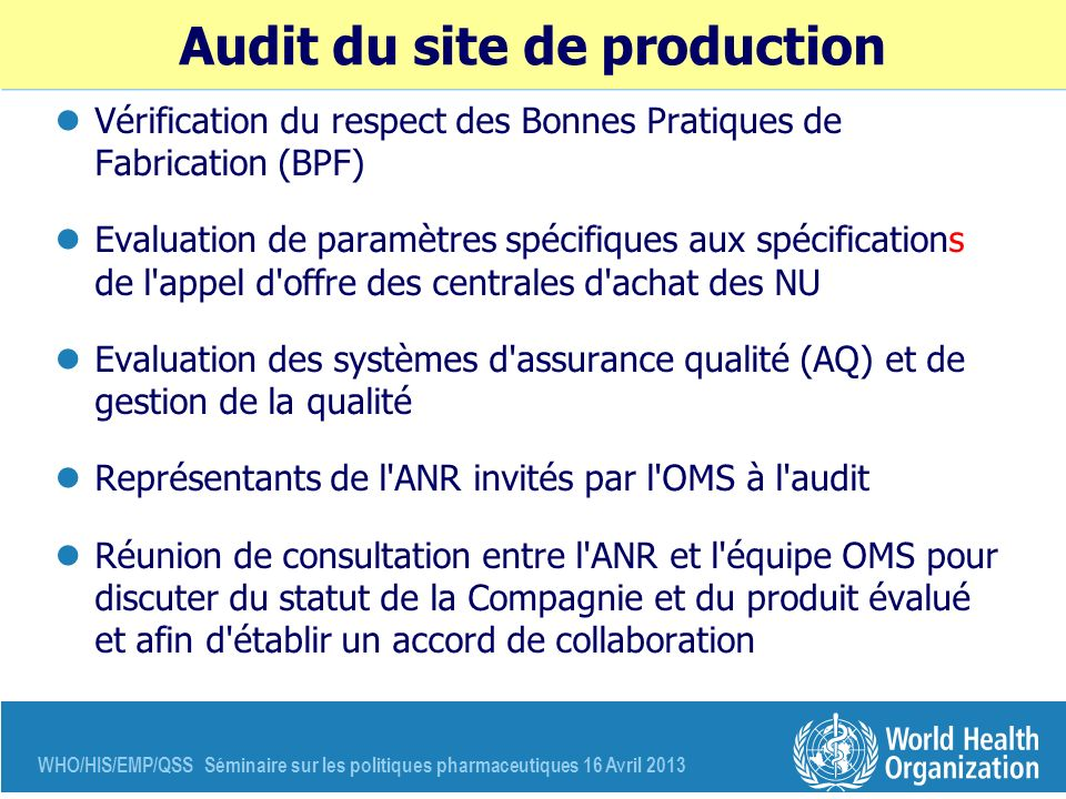 Audit du site de production