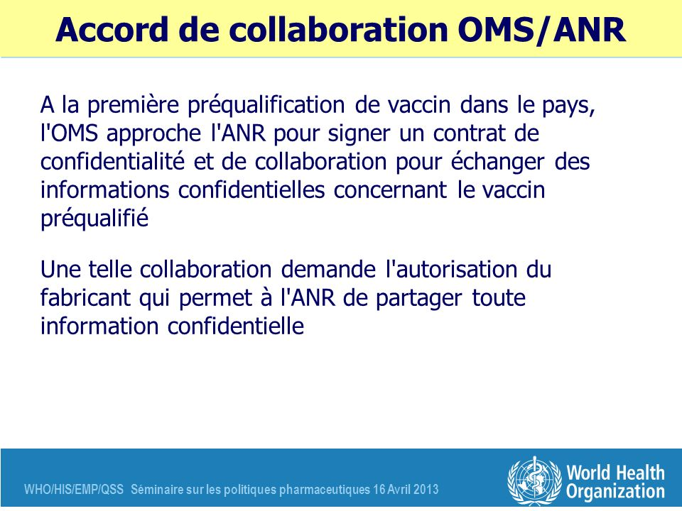 Accord de collaboration OMS/ANR
