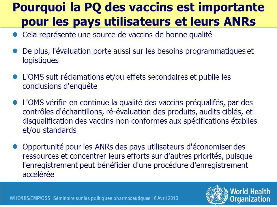 Pourquoi la PQ des vaccins est importante pour les pays utilisateurs et leurs ANRs