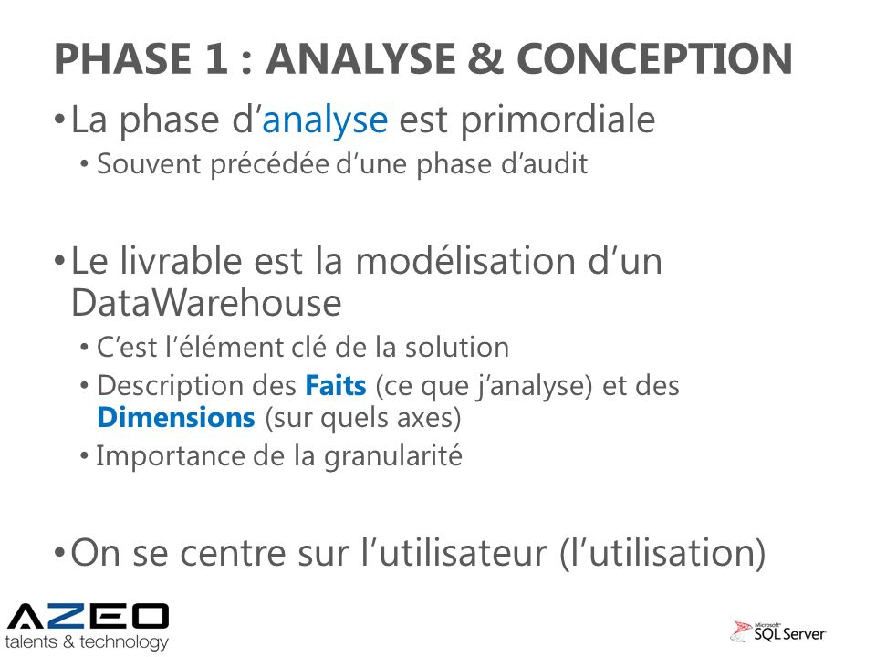 Phase 1 : analyse & conception