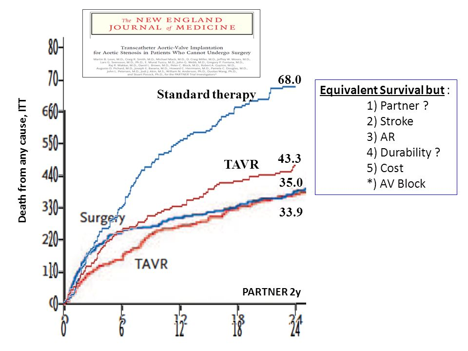 Equivalent Survival but : 1) Partner 2) Stroke 3) AR 4) Durability