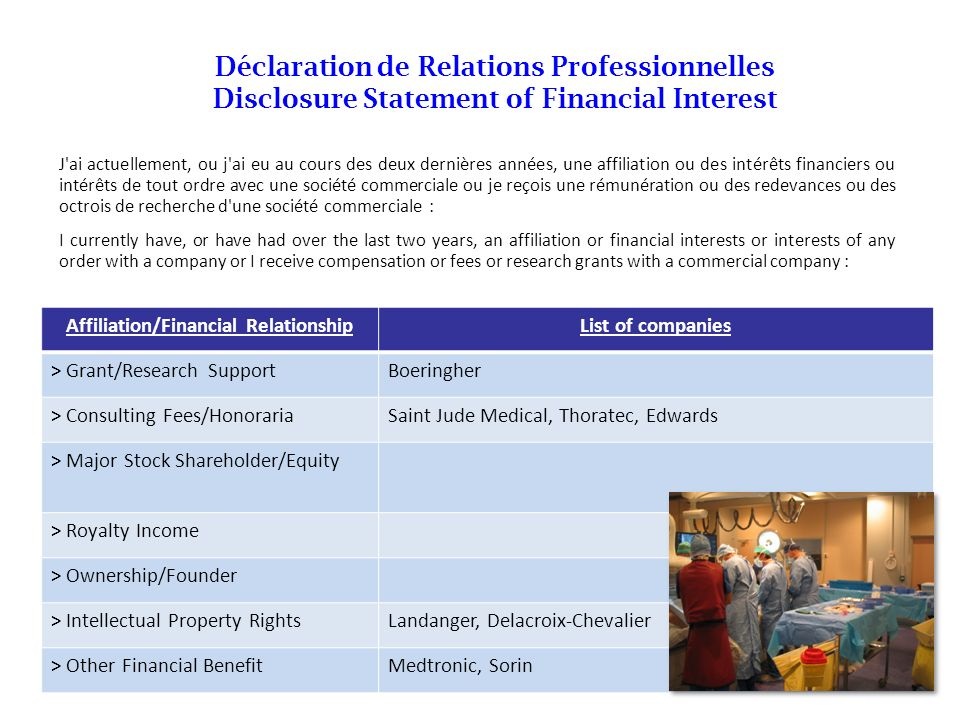 Affiliation/Financial Relationship