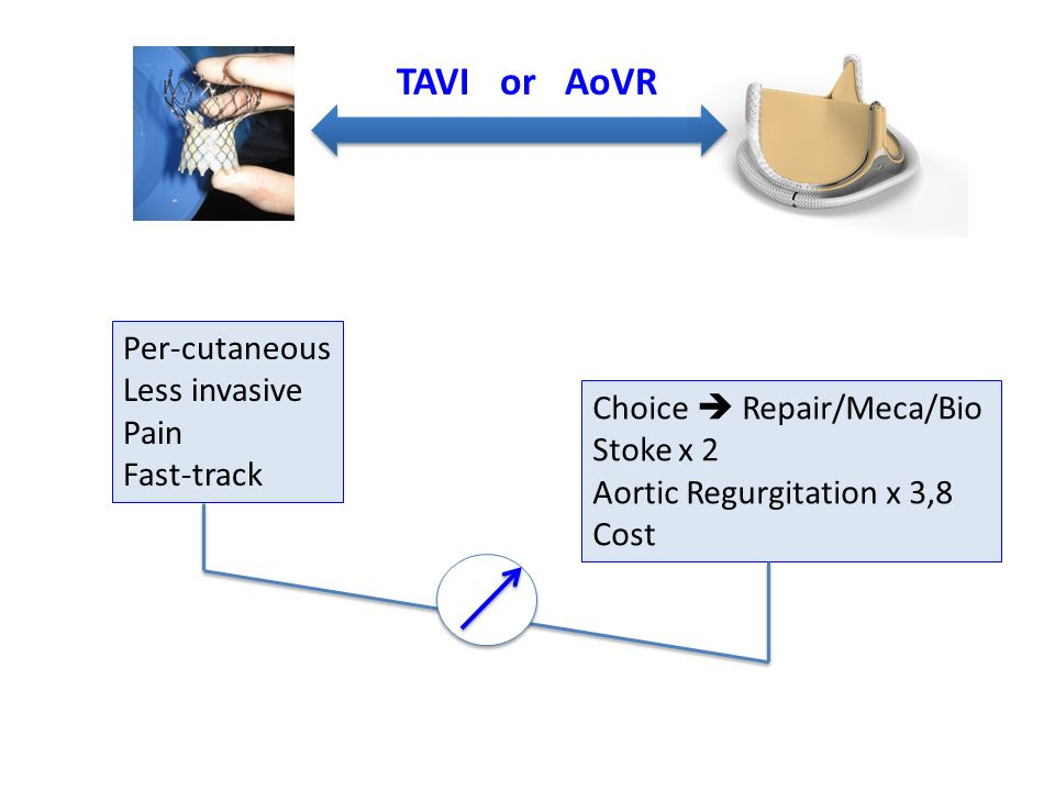 TAVI or AoVR Per-cutaneous Less invasive Pain Choice  Repair/Meca/Bio