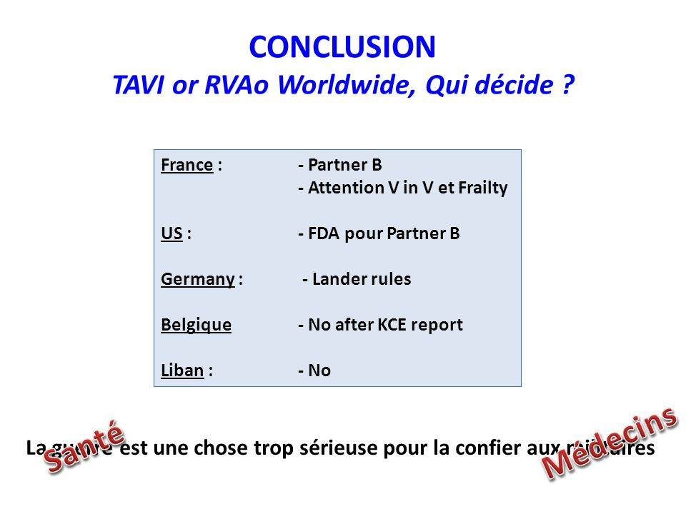 CONCLUSION TAVI or RVAo Worldwide, Qui décide