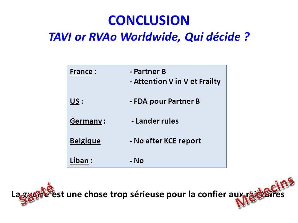 CONCLUSION TAVI or RVAo Worldwide, Qui décide
