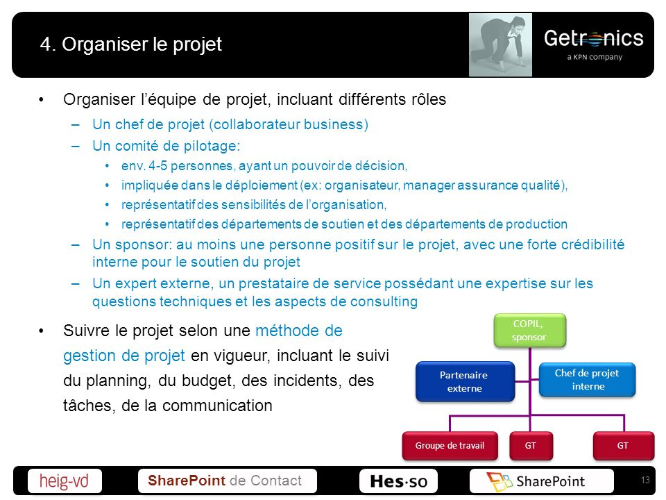 4. Organiser le projet Organiser l'équipe de projet, incluant différents rôles. Un chef de projet (collaborateur business)