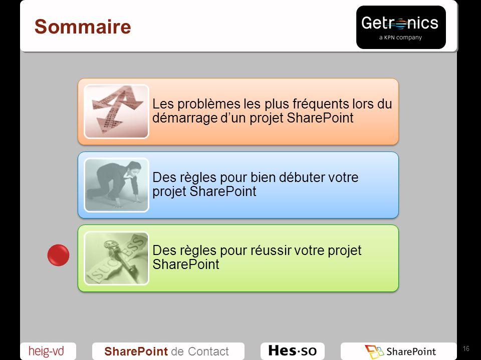 Sommaire Les problèmes les plus fréquents lors du démarrage d'un projet SharePoint. Des règles pour bien débuter votre projet SharePoint.