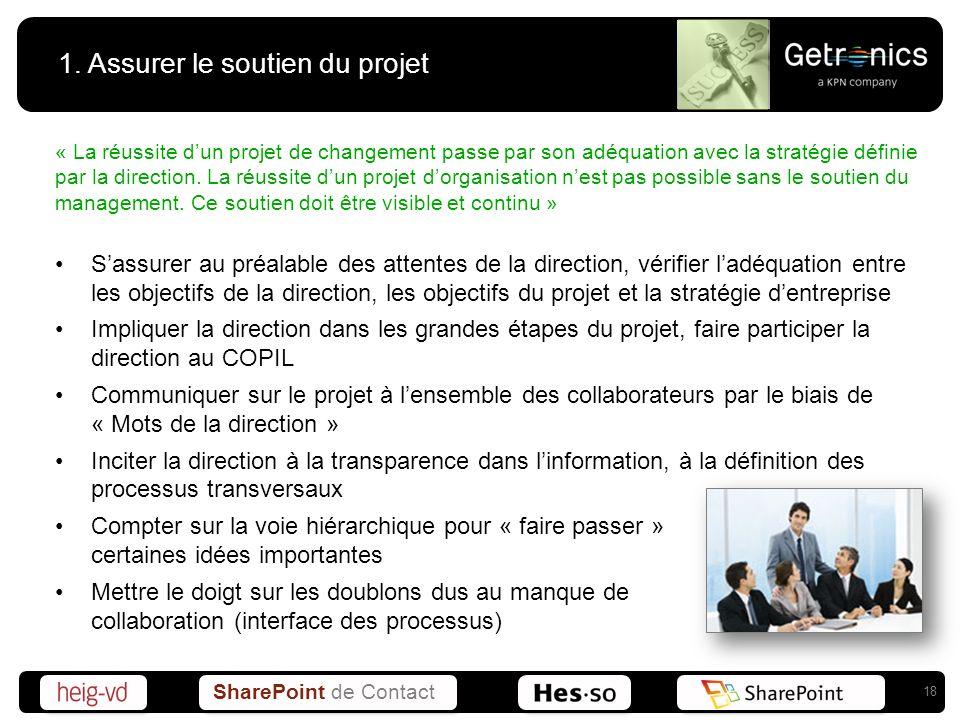 1. Assurer le soutien du projet