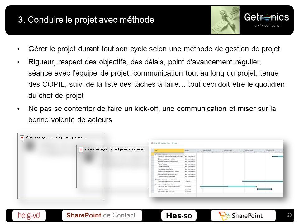 3. Conduire le projet avec méthode