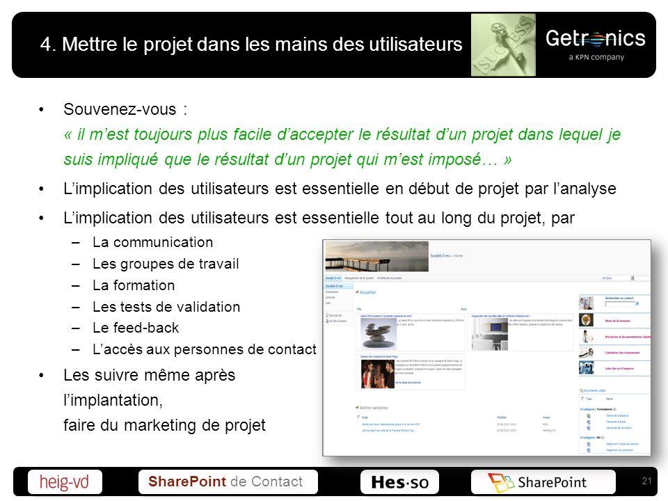 4. Mettre le projet dans les mains des utilisateurs