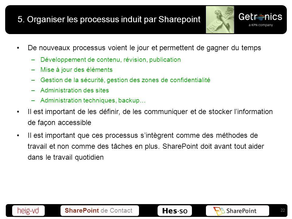 5. Organiser les processus induit par Sharepoint