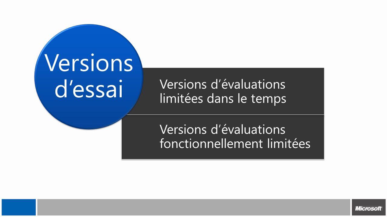 Versions d'essai Versions d'évaluations limitées dans le temps