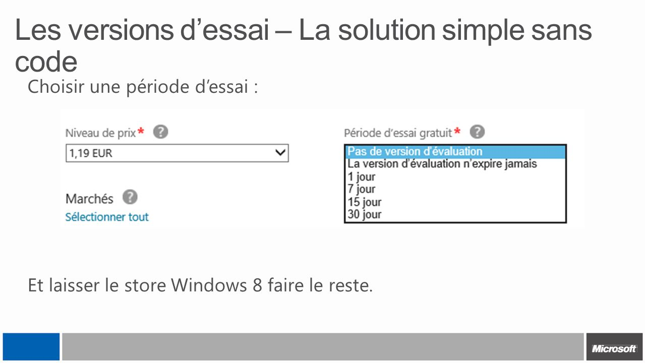 Les versions d'essai – La solution simple sans code