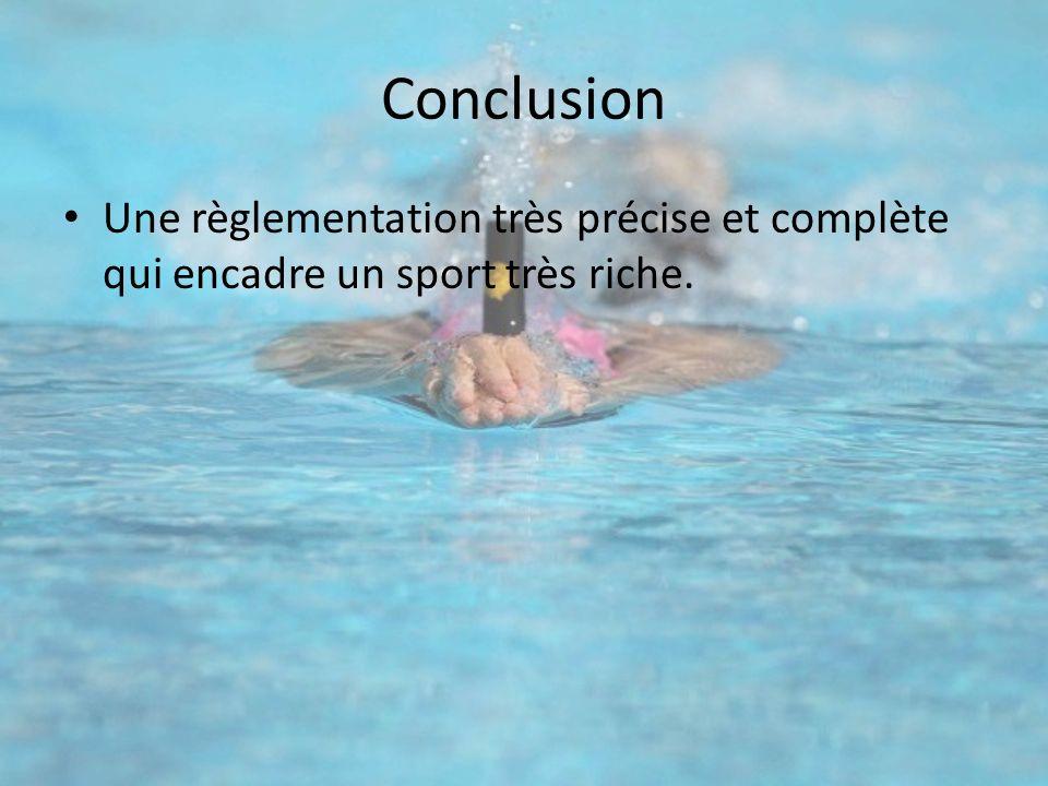 Conclusion Une règlementation très précise et complète qui encadre un sport très riche.