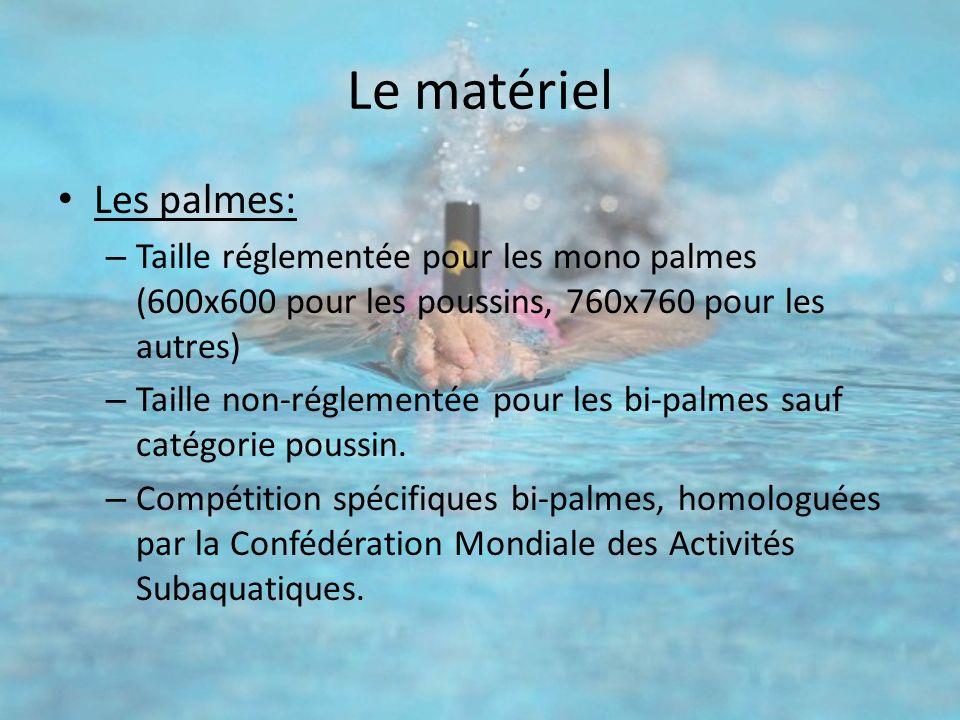 Le matériel Les palmes: