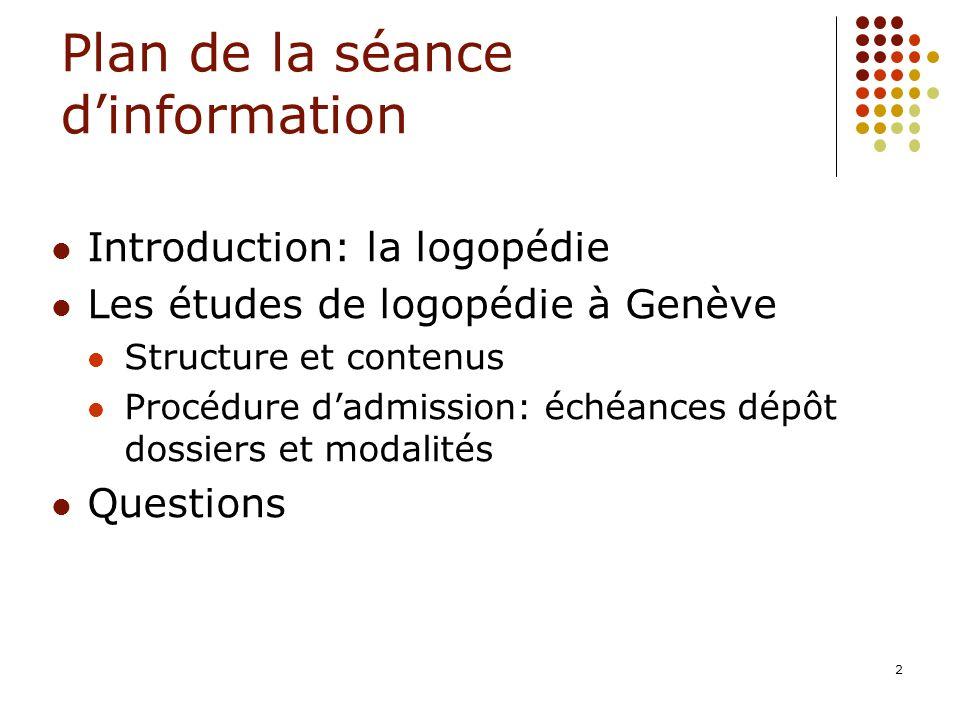 Plan de la séance d'information