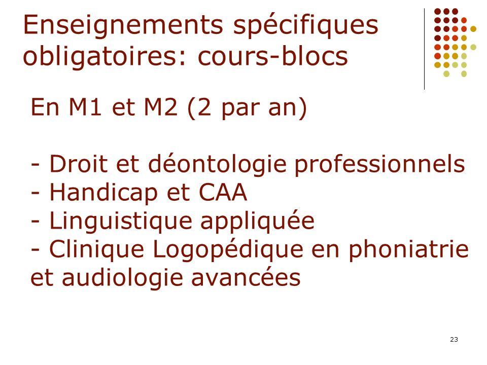 Enseignements spécifiques obligatoires: cours-blocs