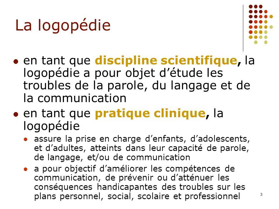 La logopédie en tant que discipline scientifique, la logopédie a pour objet d'étude les troubles de la parole, du langage et de la communication.