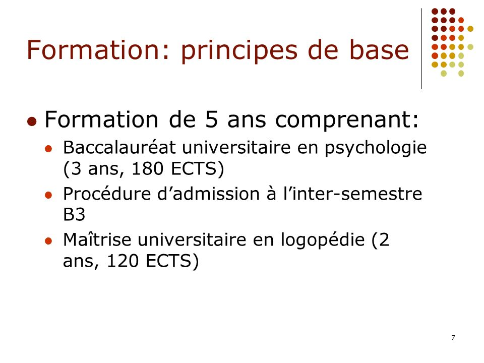 Formation: principes de base