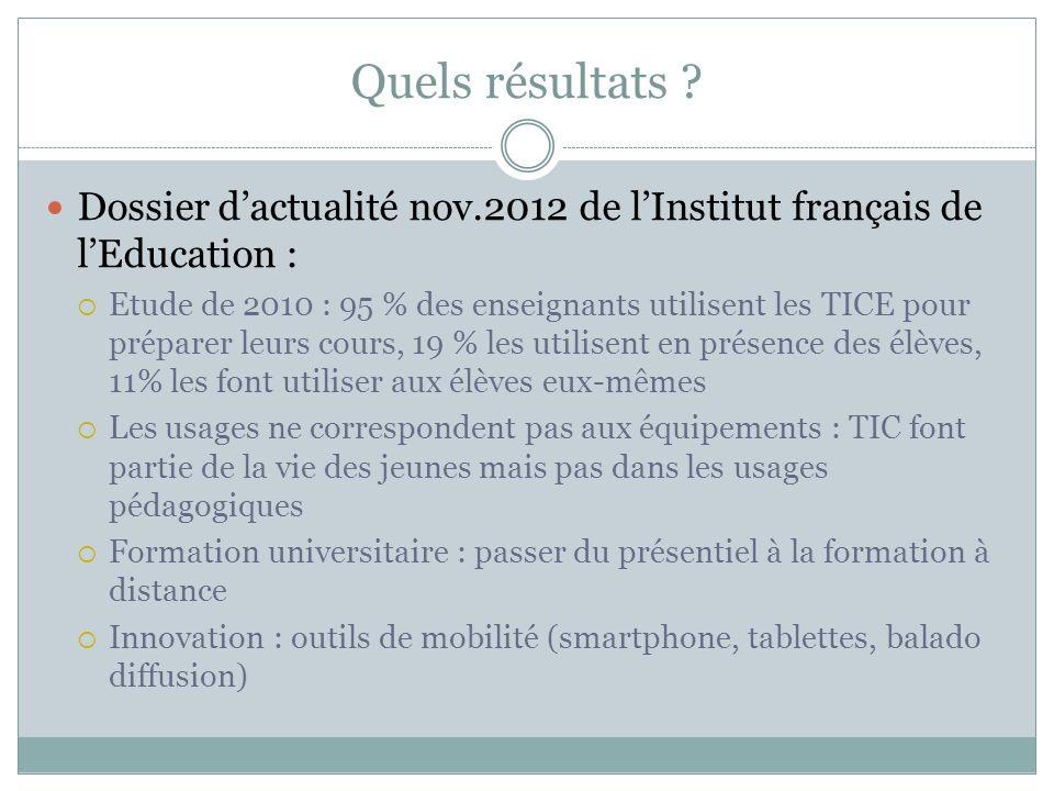 Quels résultats Dossier d'actualité nov.2012 de l'Institut français de l'Education :
