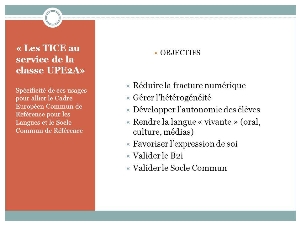 « Les TICE au service de la classe UPE2A»