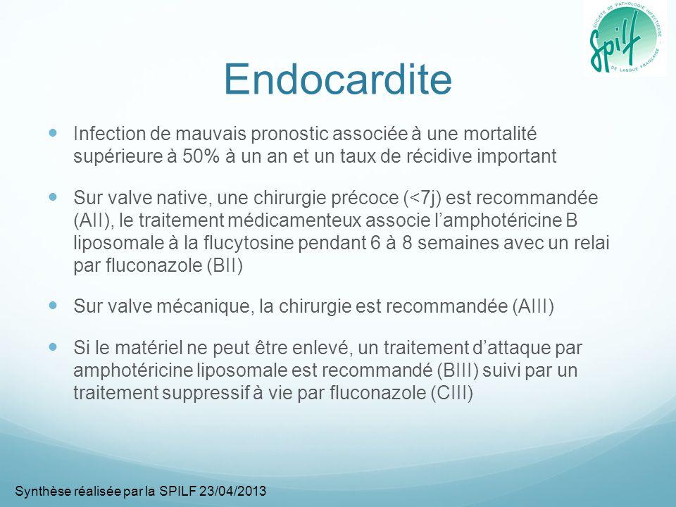 Endocardite Infection de mauvais pronostic associée à une mortalité supérieure à 50% à un an et un taux de récidive important.