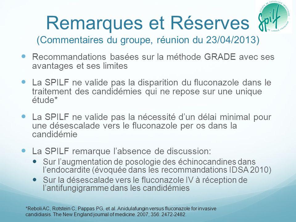 Remarques et Réserves (Commentaires du groupe, réunion du 23/04/2013)