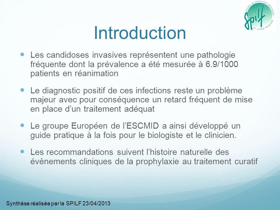 Introduction Les candidoses invasives représentent une pathologie fréquente dont la prévalence a été mesurée à 6.9/1000 patients en réanimation.